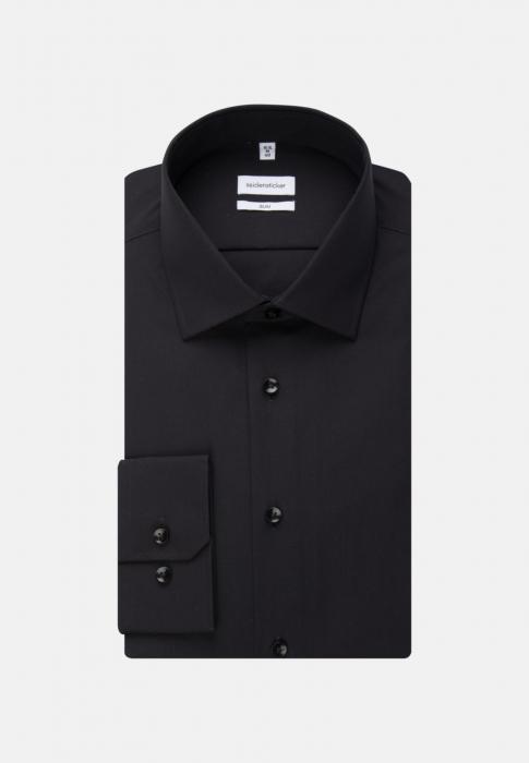 Cămașă business bărbați poplin Seidensticker Slim Not Iron neagra [5]