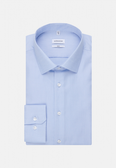 Cămașă business bărbați Seidensticker Slim Not Iron albastra structurata [5]