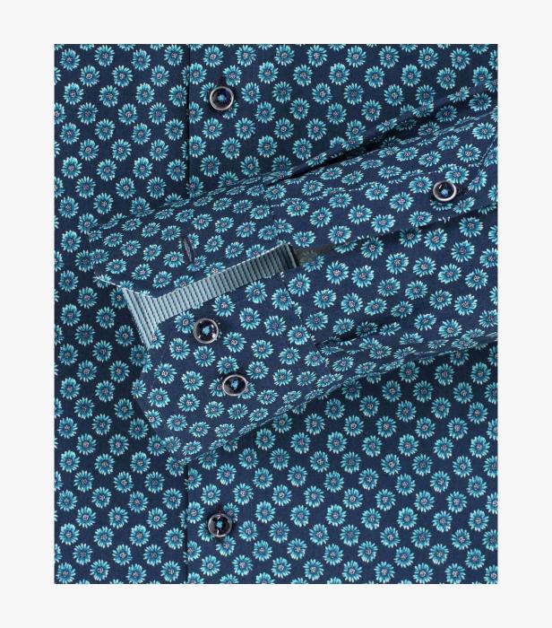 Camasa bumbac barbati VENTI Modern Fit bluemarin print floral turcoaz [3]