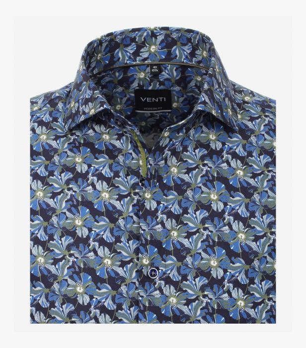 Camasa bumbac barbati VENTI ModernFit albastra print floral [2]