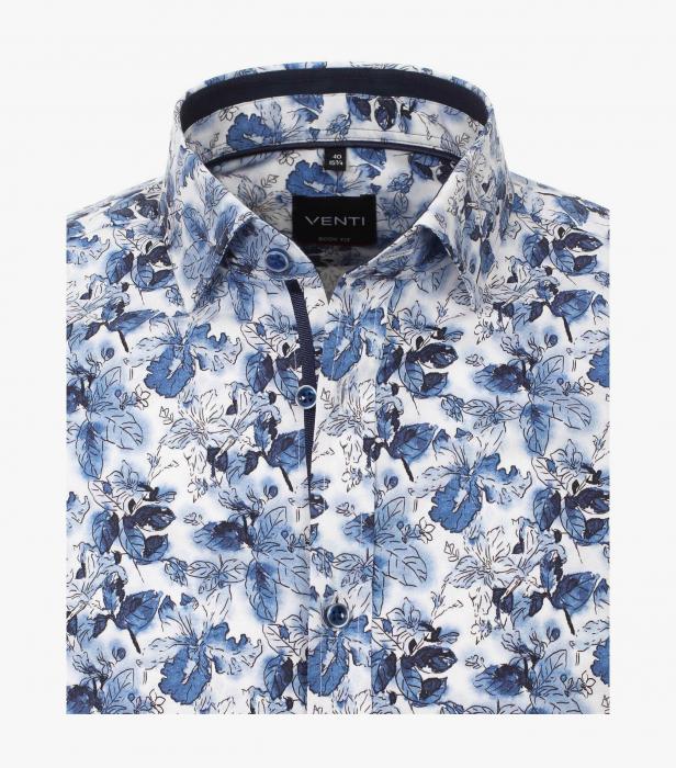 Camasa maneca lunga barbati VENTI ModernFit albastra print floral [2]
