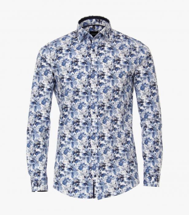 Camasa maneca lunga barbati VENTI ModernFit albastra print floral [0]