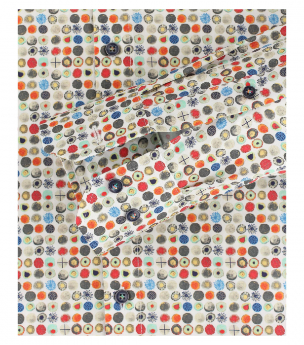 Camasa bumbac barbati VENTI ModernFit bej print cerculete multicolore [3]