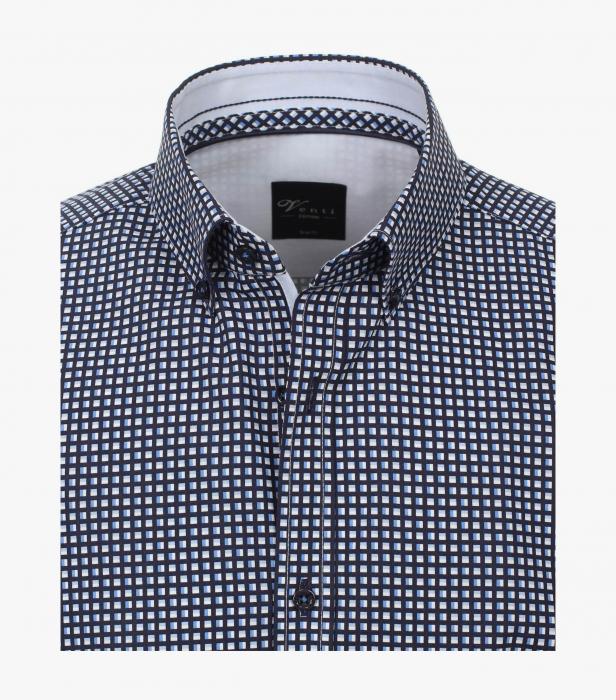 Camasa bumbac barbati VENTI Modern Fit alb/bleu cu patratele negre [2]