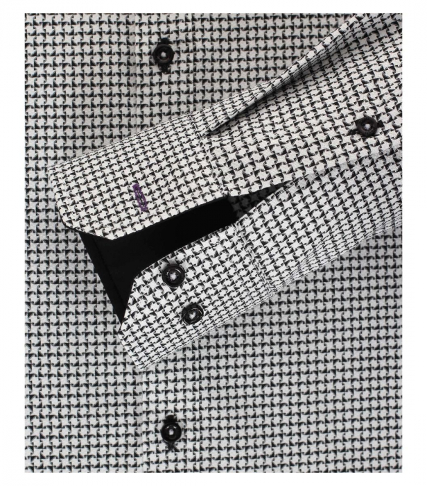 Camasa bumbac barbati VENTI Modern Fit neagra cu print alb [3]