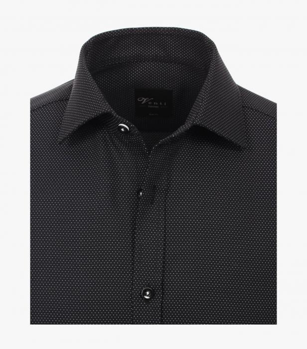 Camasa bumbac barbati VENTI Modern Fit neagra print puncte albe [2]