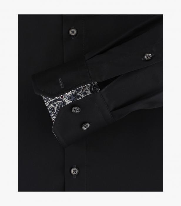 Camasa bumbac barbati VENTI Modern Fit uni neagra [3]