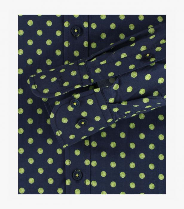 Camasa bumbac barbati CASA MODA Casual Fit bleumarin print cerculete galbene [3]