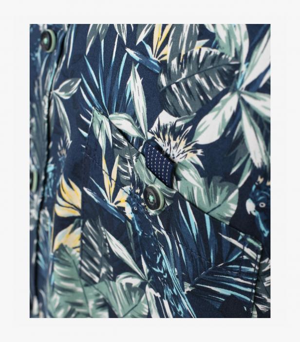 Camasa bumbac maneca scurta CASA MODA CasualFit bleumarin print floral [4]