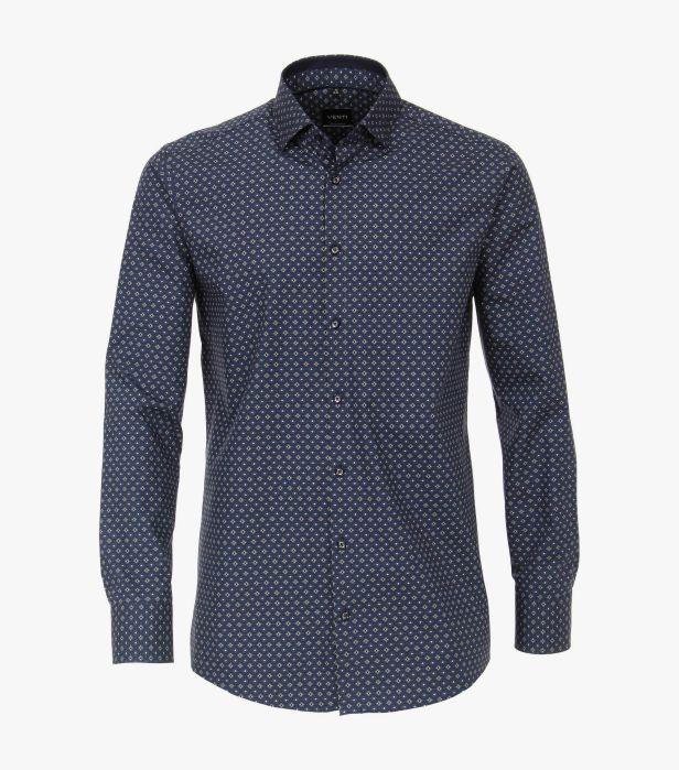 Camasa maneca lunga barbati VENTI print Modern Fit albastra [0]