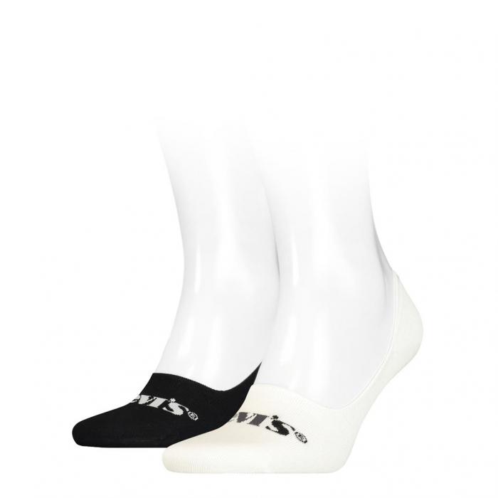 Sosete foarte scurte unisex LEVI'S New Logo alb / negru - set 2 perechi [0]