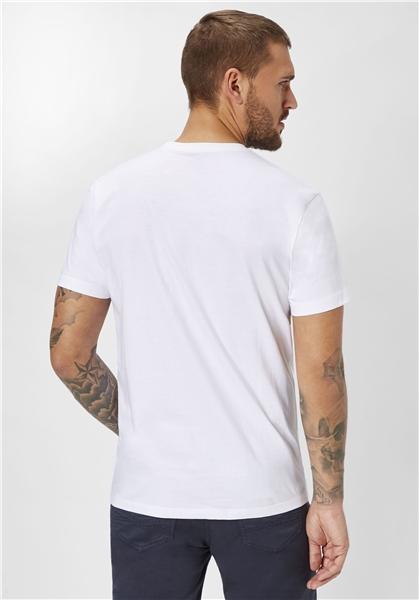 Tricou maneca scurta barbati PADDOCK'S O neck alb [1]