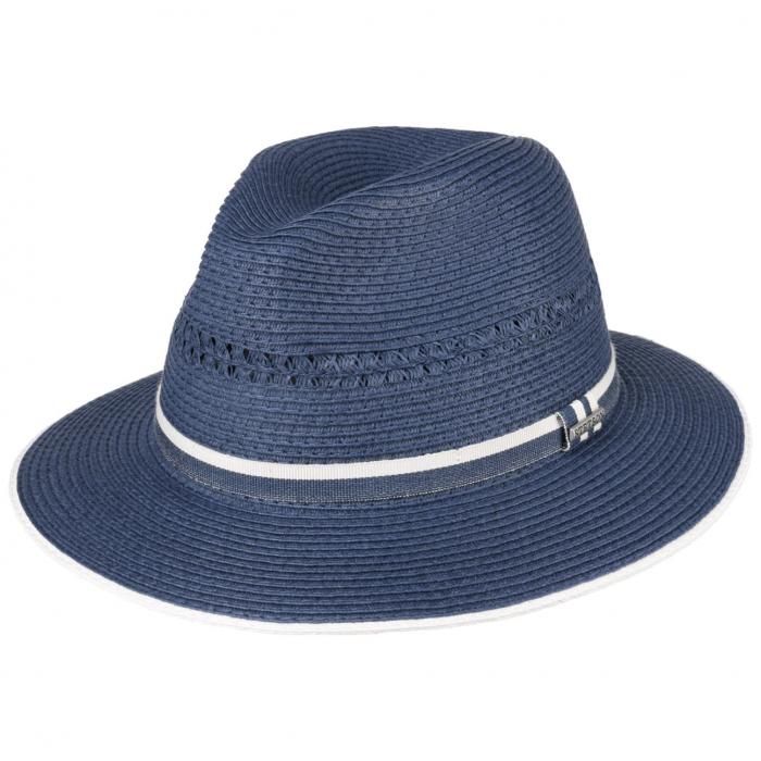 Palarie estivala paie Toyo STETSON Traveller albastra unisex [0]