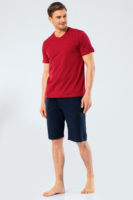 Pijama bumbac barbati set tricou si pantaloni scurti TÜREN visiniu [0]