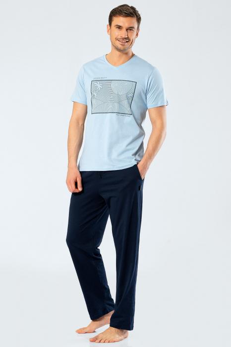 Pijama bumbac set barbati tricou si pantaloni lungi TÜREN bleu [0]