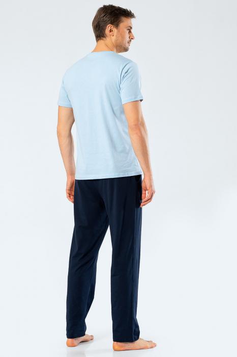 Pijama bumbac set barbati tricou si pantaloni lungi TÜREN bleu [1]