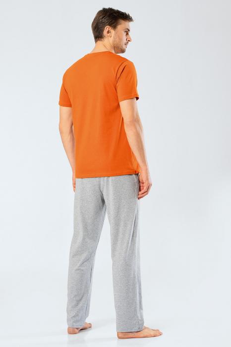 Pijama bumbac barbati set tricou si pantaloni lungi TÜREN caramiziu [2]