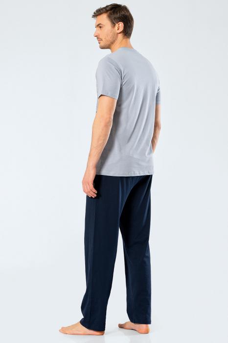 Pijama bumbac set barbati tricou si pantaloni lungi TÜREN gri [2]