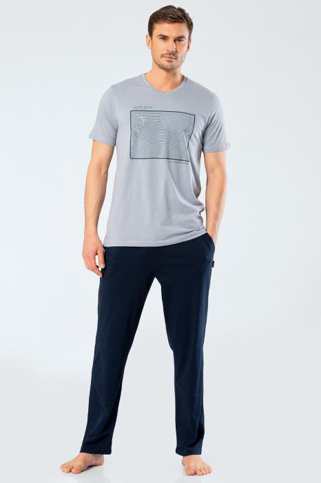 Pijama bumbac set barbati tricou si pantaloni lungi TÜREN gri [1]
