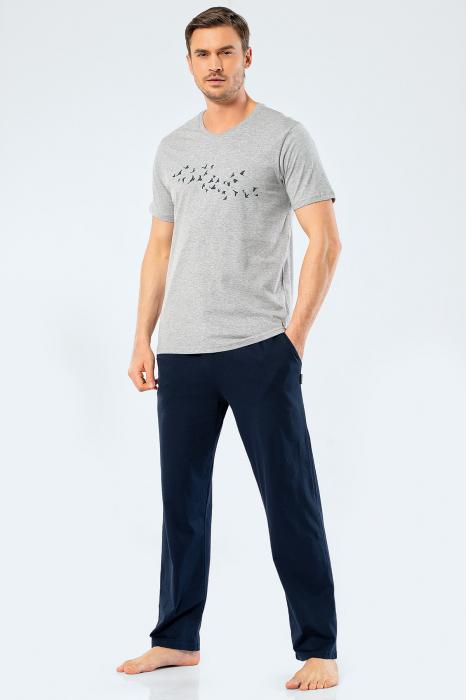 Pijama bumbac set barbati tricou si pantaloni lungi TÜREN gri [0]
