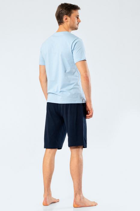 Pijama bumbac set barbati tricou si pantaloni scurti TÜREN bleu [2]