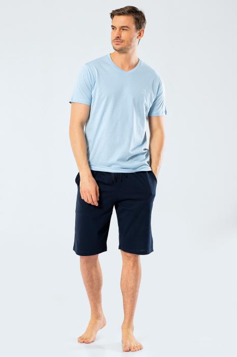 Pijama bumbac barbati set tricou si pantaloni scurti TÜREN bleu [0]