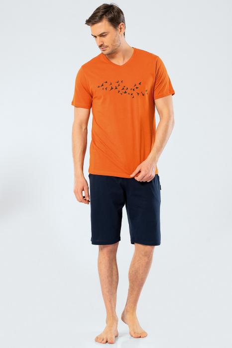 Pijama bumbac set barbati tricou si pantaloni scurti TÜREN caramiziu [2]