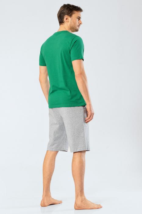 Pijama bumbac barbati set tricou si pantaloni scurti TÜREN verde [2]
