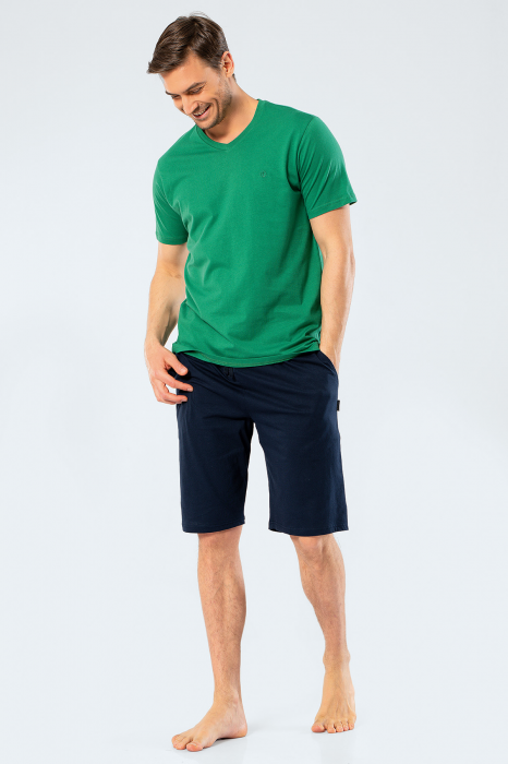 Pijama bumbac barbati set tricou si pantaloni scurti TÜREN verde [0]