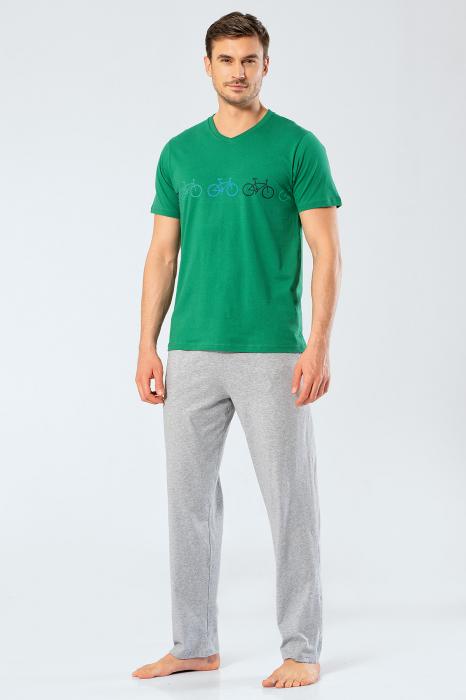 Pijama bumbac barbati set tricou si pantaloni lungi TÜREN verde [0]