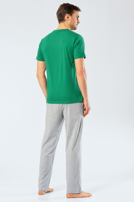 Pijama bumbac barbati set tricou si pantaloni lungi TÜREN verde [3]