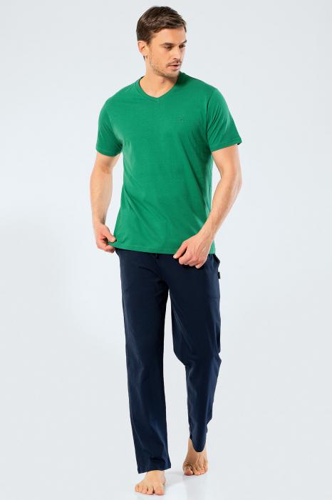 Pijama bumbac set barbati tricou si pantaloni lungi TÜREN verde [0]