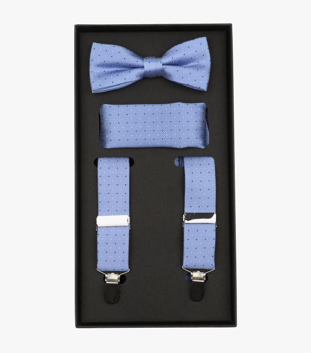 Set bretele, papion si batista matase VENTI bleu cu picatele [0]