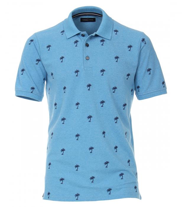 Tricou polo CASA MODA barbati bleu print palmieri [0]
