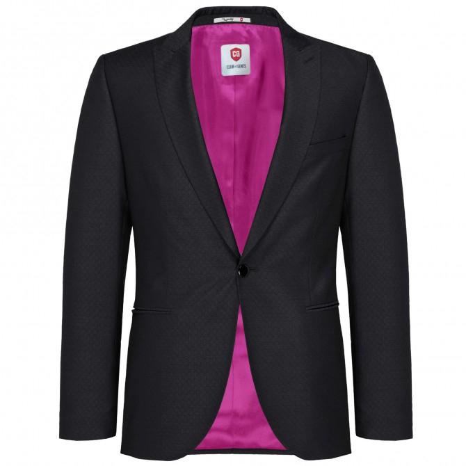 Sacou mix&match CLUB of GENTS Pete pentru costum Diamond design Slim Fit negru [0]