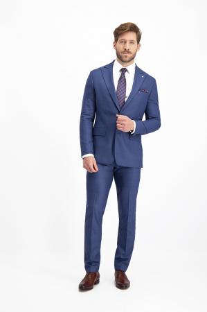 Costum elegant carouri LAVARD albastru [6]