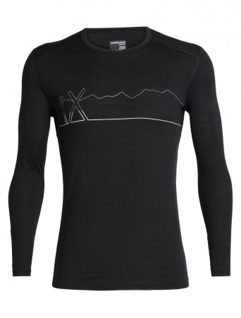 Bluza de corp barbati ICEBREAKER 200 Oasis LS Crewe Single Line Ski neagra [0]