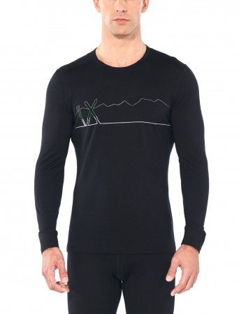 Bluza de corp barbati ICEBREAKER 200 Oasis LS Crewe Single Line Ski neagra [1]