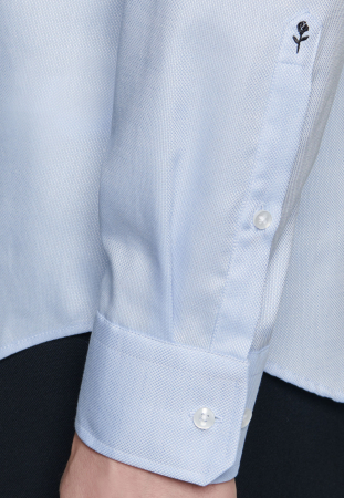 Cămașă business bărbați Seidensticker Shaped Not Iron albastra structurata [5]
