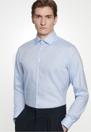 Cămașă business bărbați Seidensticker Slim Not Iron albastra structurata [0]