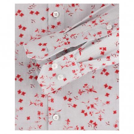 Camasa bumbac barbati VENTI ModernFit print floral rosu [3]