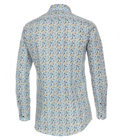 Camasa bumbac barbati VENTI BodyFit bleu print cerculete multicolore [1]