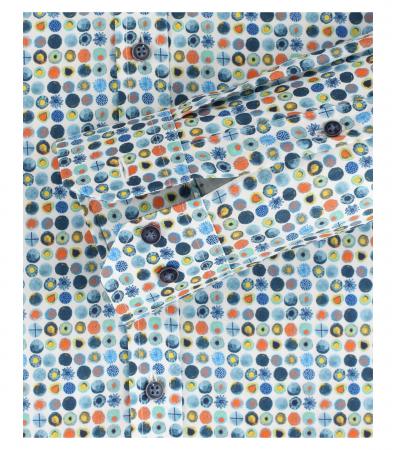 Camasa bumbac barbati VENTI BodyFit bleu print cerculete multicolore [3]