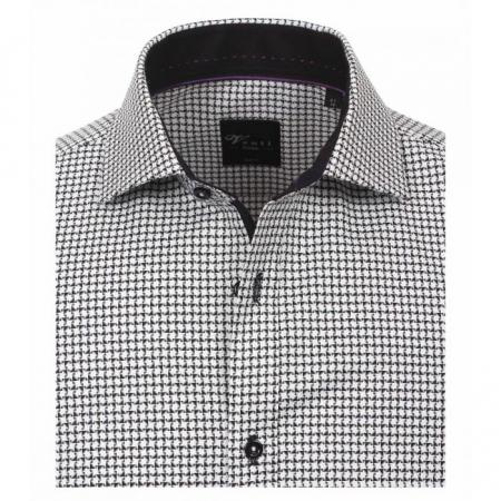 Camasa bumbac barbati VENTI Modern Fit neagra cu print alb [2]