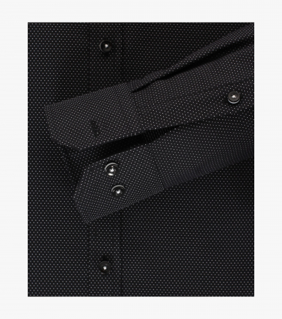 Camasa bumbac barbati VENTI Modern Fit neagra print puncte albe [3]