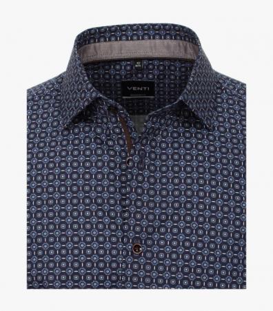 Camasa maneca lunga barbati VENTI print Modern Fit albastra [2]