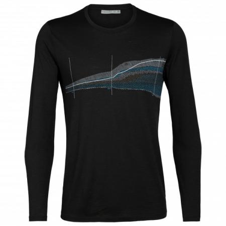 Bluza de corp barbati ICEBREAKER Tech Lite LS Crewe Impact Timeline neagra [0]
