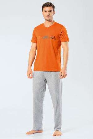 Pijama bumbac barbati set tricou si pantaloni lungi TÜREN caramiziu [0]
