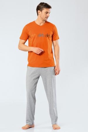 Pijama bumbac barbati set tricou si pantaloni lungi TÜREN caramiziu [1]