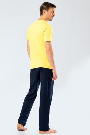 Pijama bumbac set barbati tricou si pantaloni lungi TÜREN galben [1]